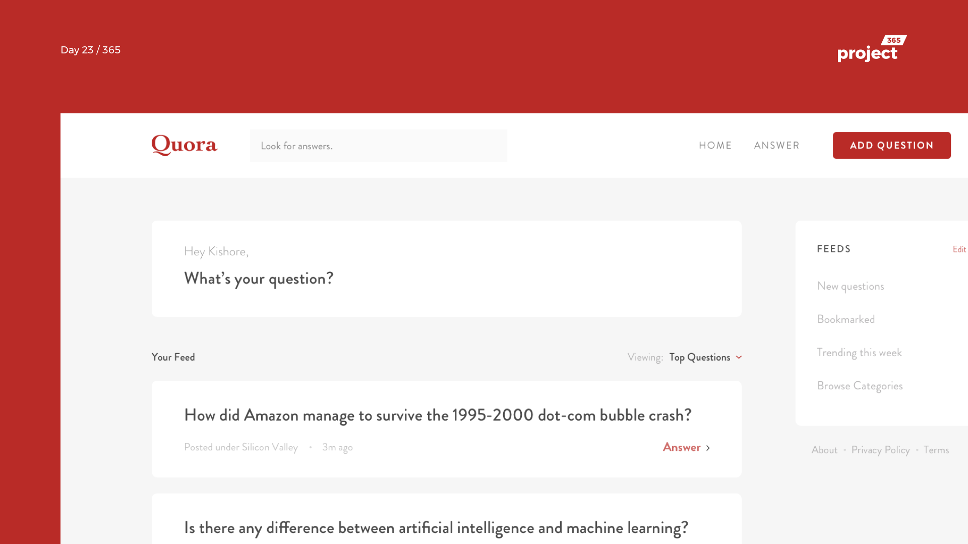 Day 23 – Quora.com Redesign