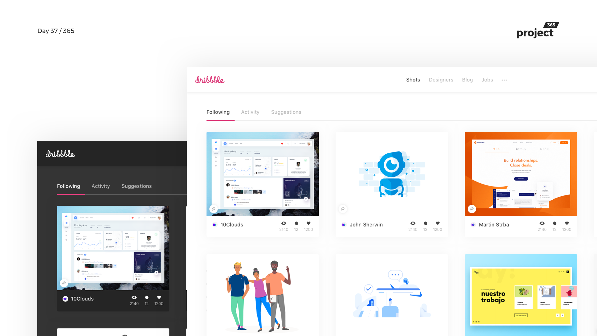 Day 37 – Dribbble Redesign Concept