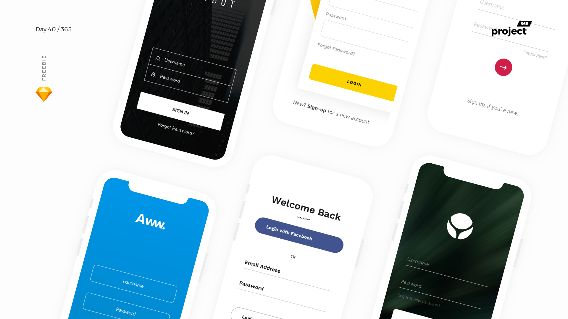 Day 40 – Login Screens iOS – Sketch Freebie