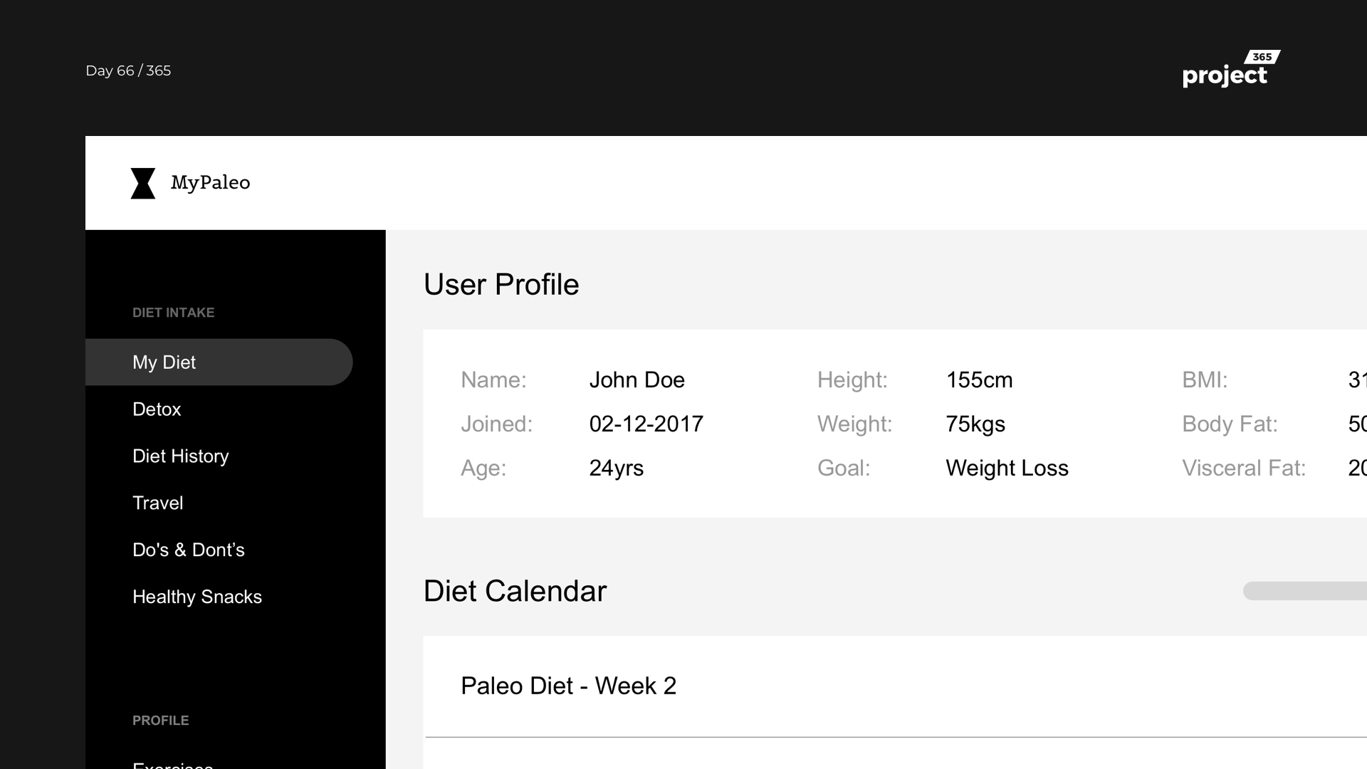 Day 66 – MyPaleo – Diet Planner Dashboard – Wireframe