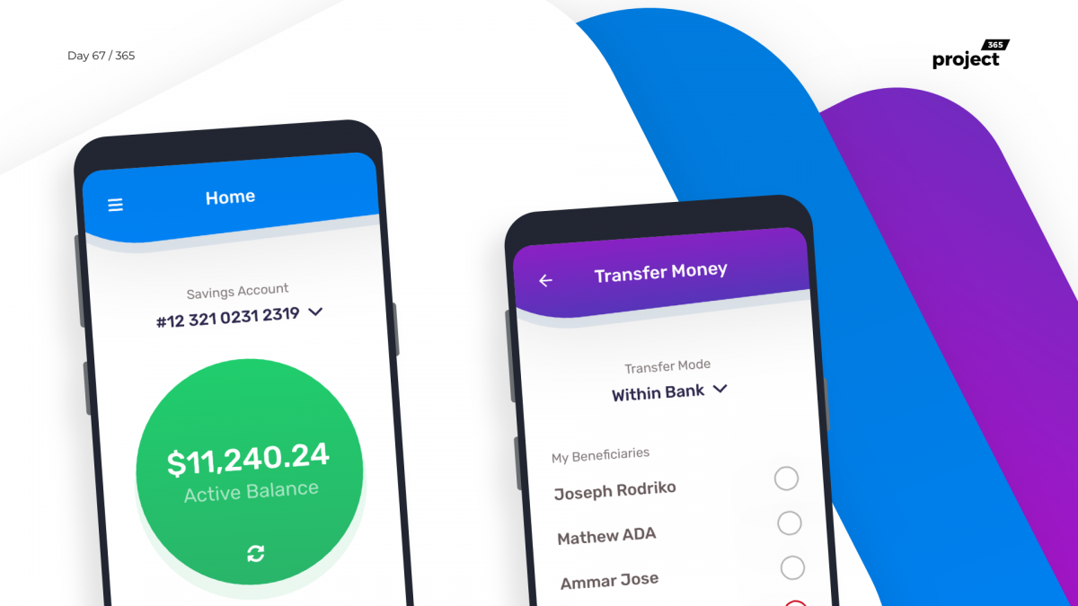 Day 67 – FunBank – Colourful Banking App