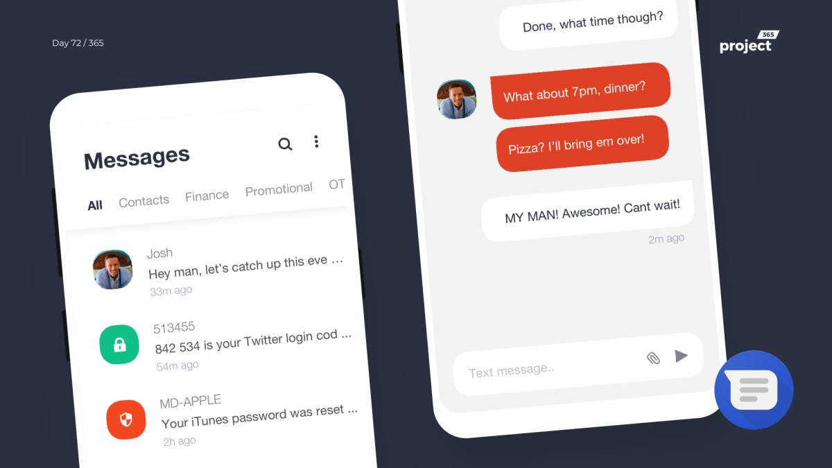 Day 72 – Android Messages Redesign Concept