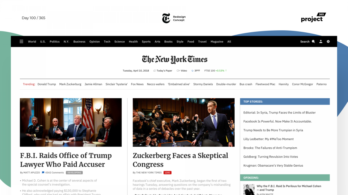 Day 100 – NYTimes Website Redesign Concept