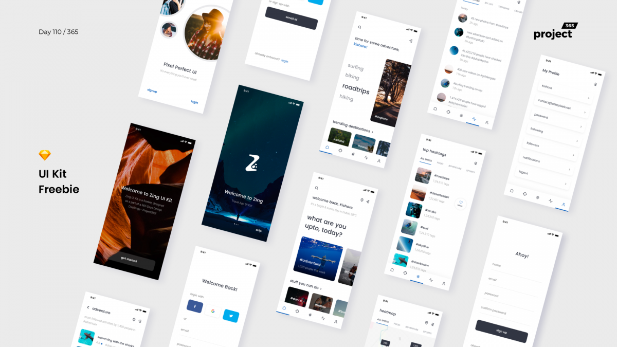 Day 110: Zing: iOS UI Kit Sketch Freebie
