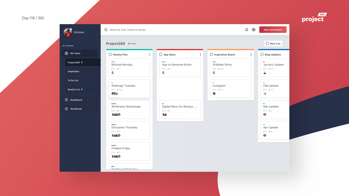 Day 118 – Kanban Task Management Dashboard