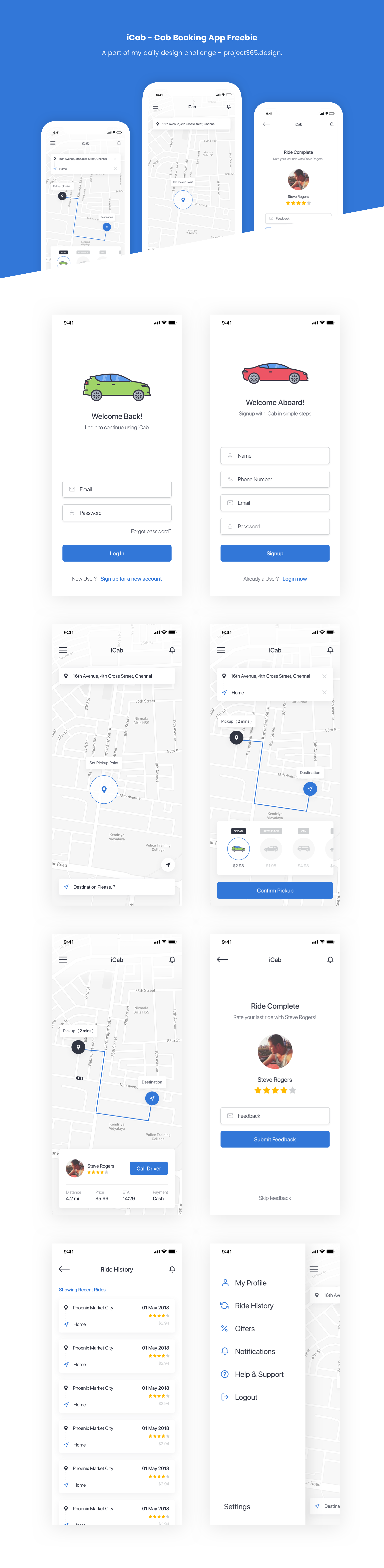 Day 124 - iCab - Cab Booking App - Sketch Freebie - Project365