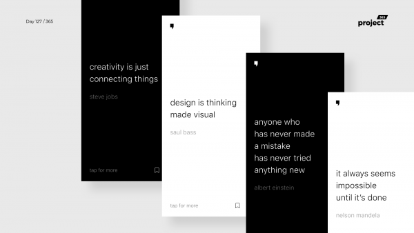 Day 127 – Minimal Quotes App Concept