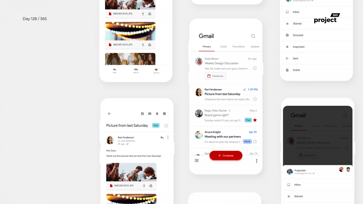 Day 128 – Gmail App Redesign Concept – Material 2.0