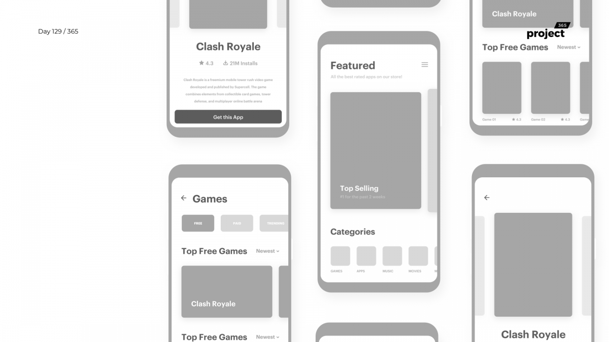 Day 129 – App Store Wireframe