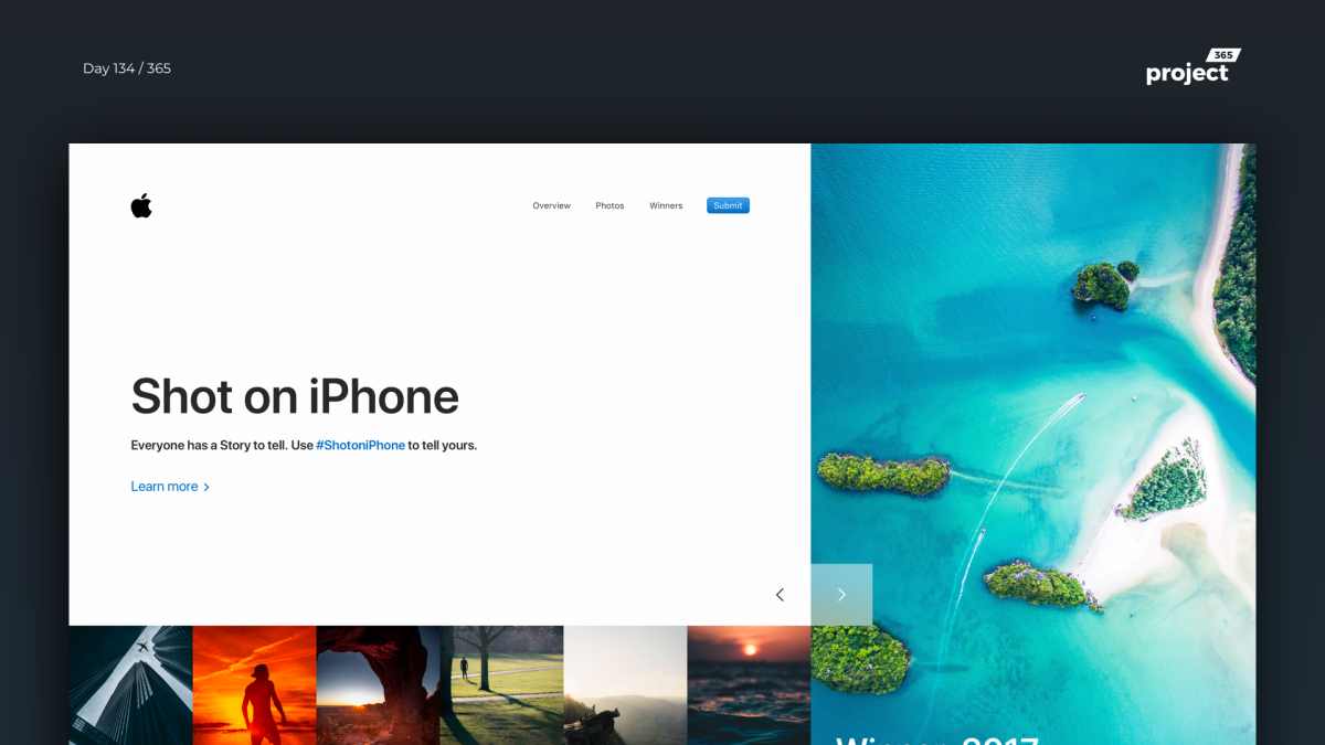 Day 134 – ShotoniPhone Photography Website Concept