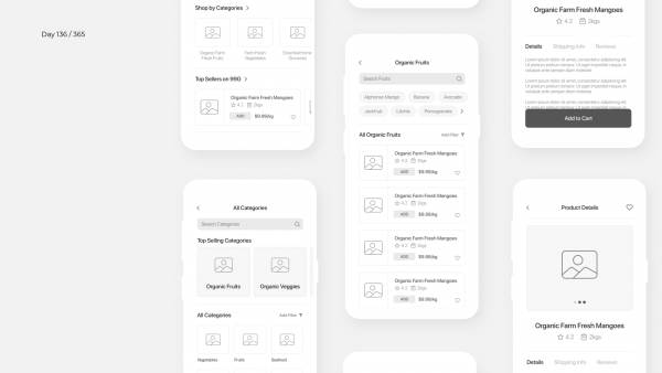 Day 136 – Organic Grocery Shopping App Wireframe