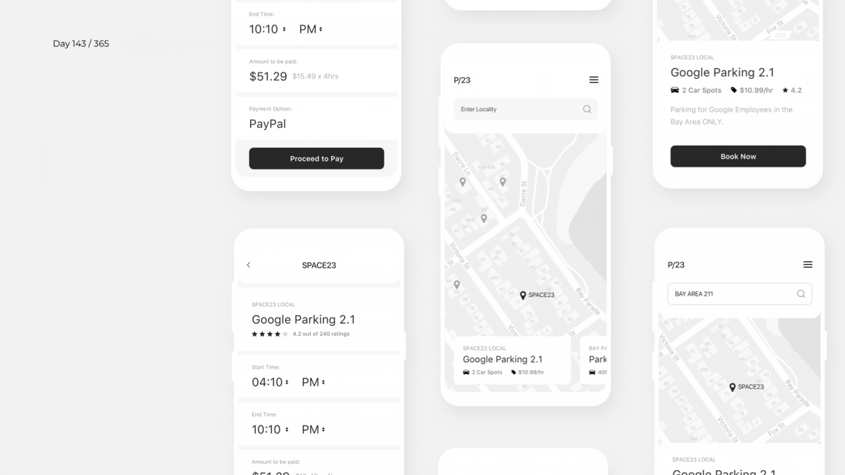 Day 143 – Parking Finder App Wireframe