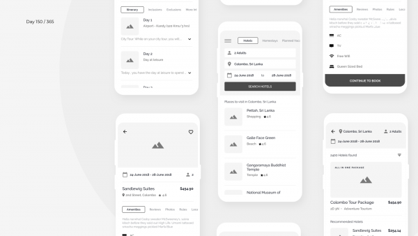 Day 150 – Hotels & Tours App Wireframe Concept