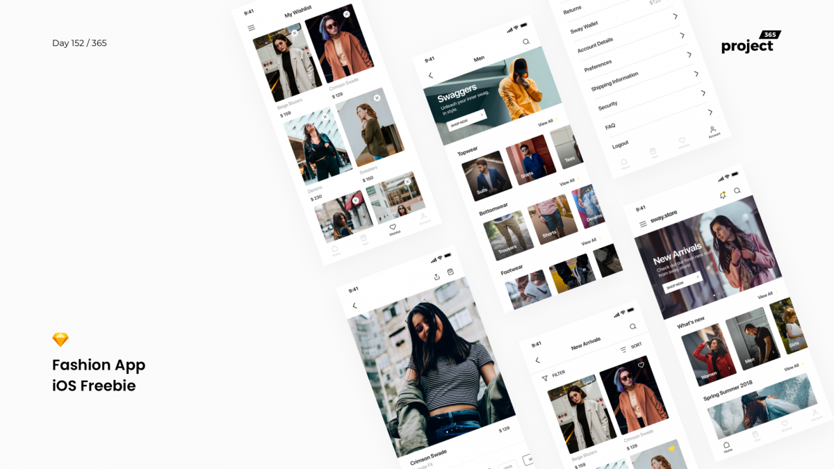 Day 152 – Fashion App Starter UI Kit – Freebie
