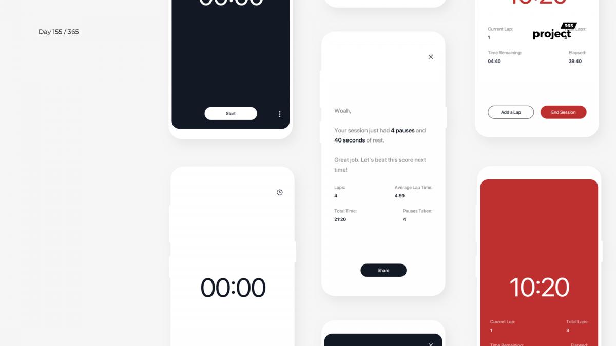 Day 155 – Minimal Gym Lap Timer – App