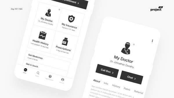 Day 157 – MyHealth – Doctor App Wireframe