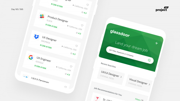 Day 163 – Glassdoor.com Mobile App Redesign