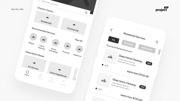 Day 164 – Home Services App Wireframe