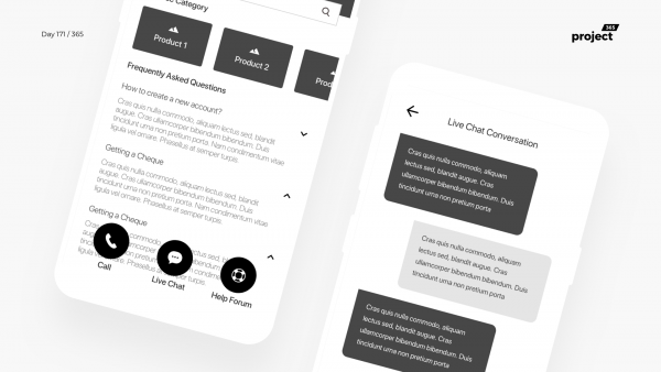 Day 171 – Support Centre Mobile App Wireframe