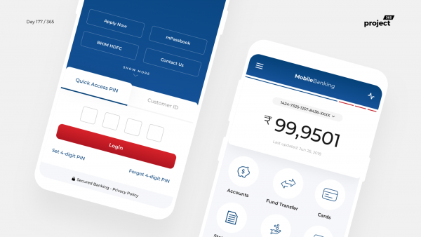 Day 177 – HDFC MobileBanking App – Redesign Concept