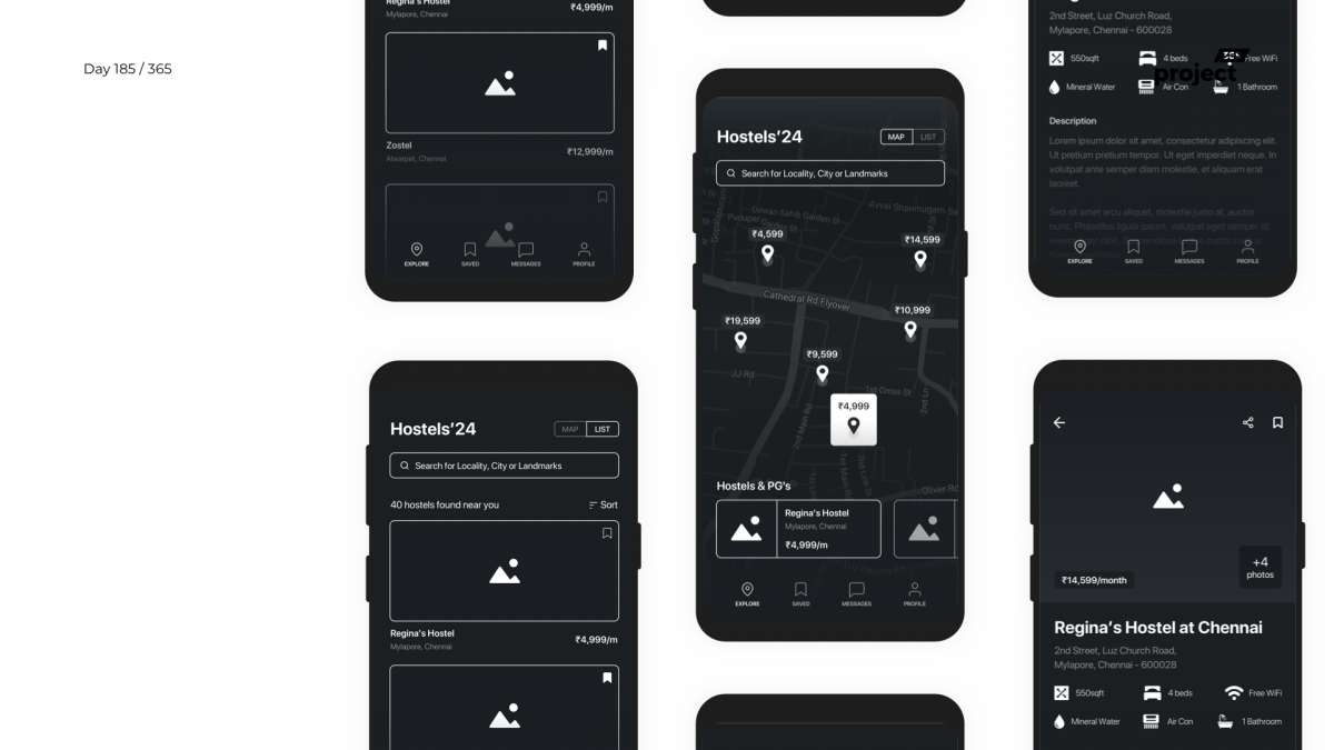 Day 185 – Hostel/PG Finder App Wireframe