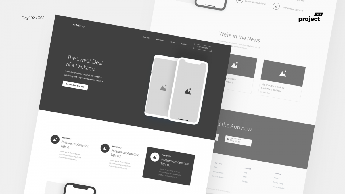 Day 192 – App Landing Page Wireframe