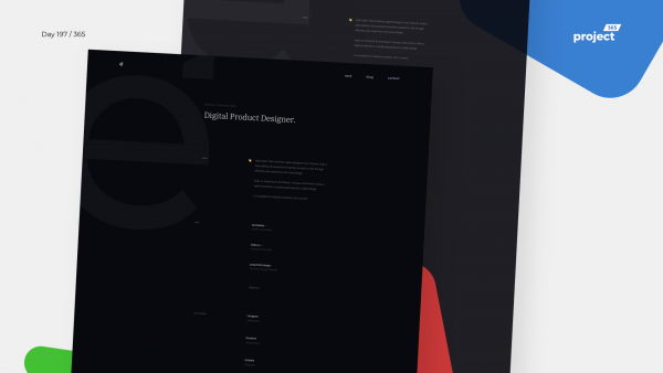 Day 197 – Minimal Designer Portfolio – Dark Mode