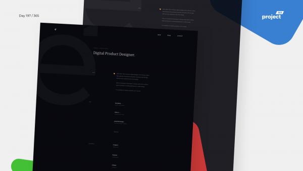 Day 197 – Minimal Designer Portfolio – Dark Mode