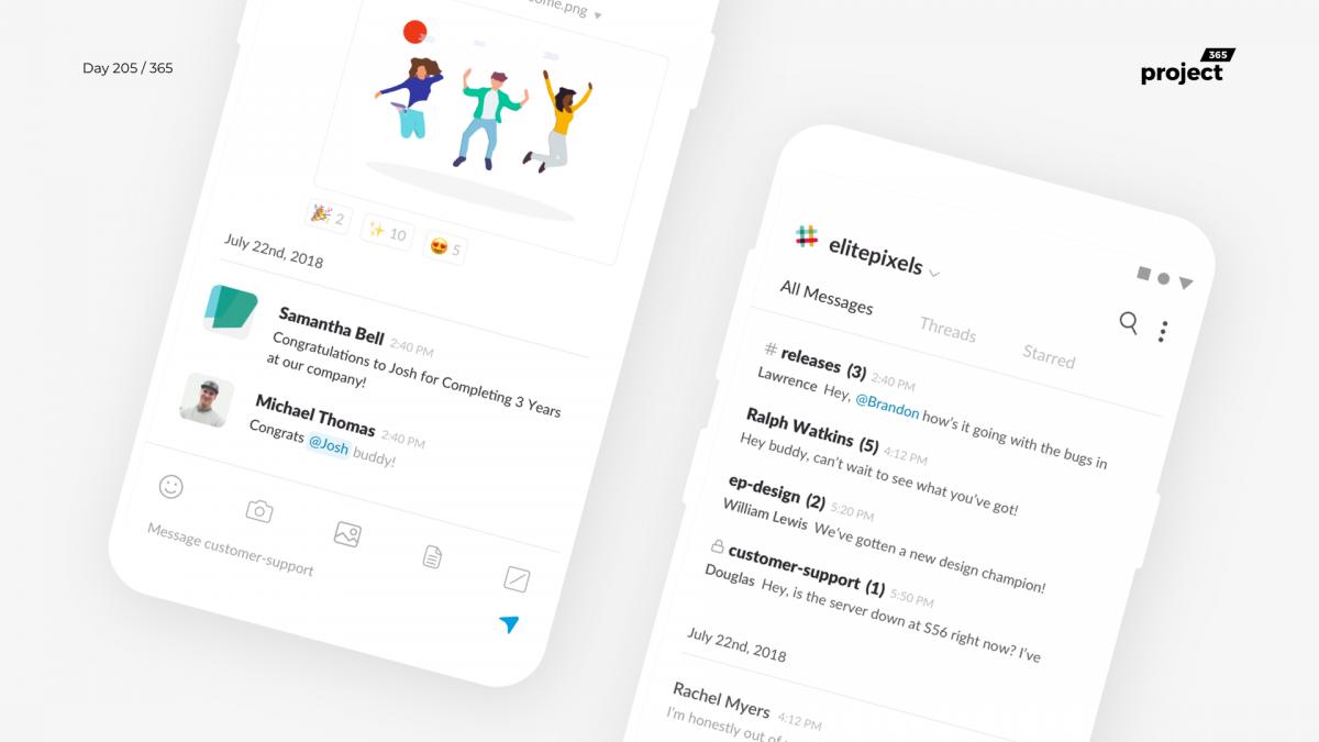 Day 205 – Slack Mobile App Redesign Concept