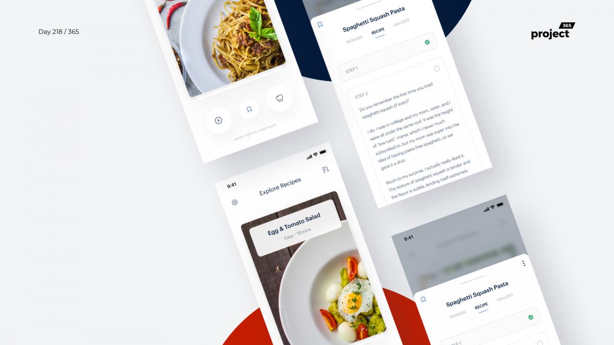Day 218 – Minimal Recipes App – Tinder Style