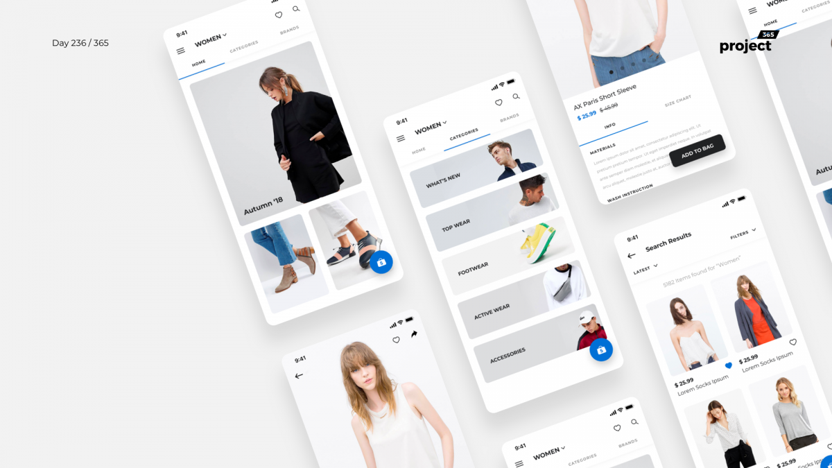 Day 236 – Minimal Fashion Store App – Free UI Kit