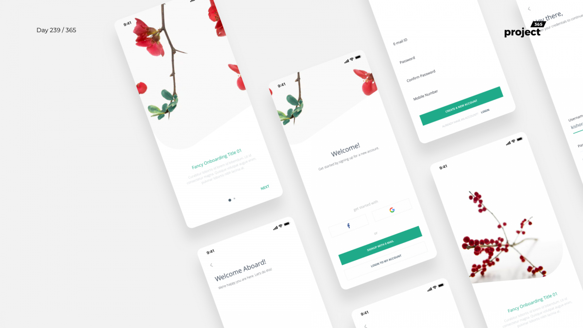 Day 239 – Minimal App Onboarding Concept