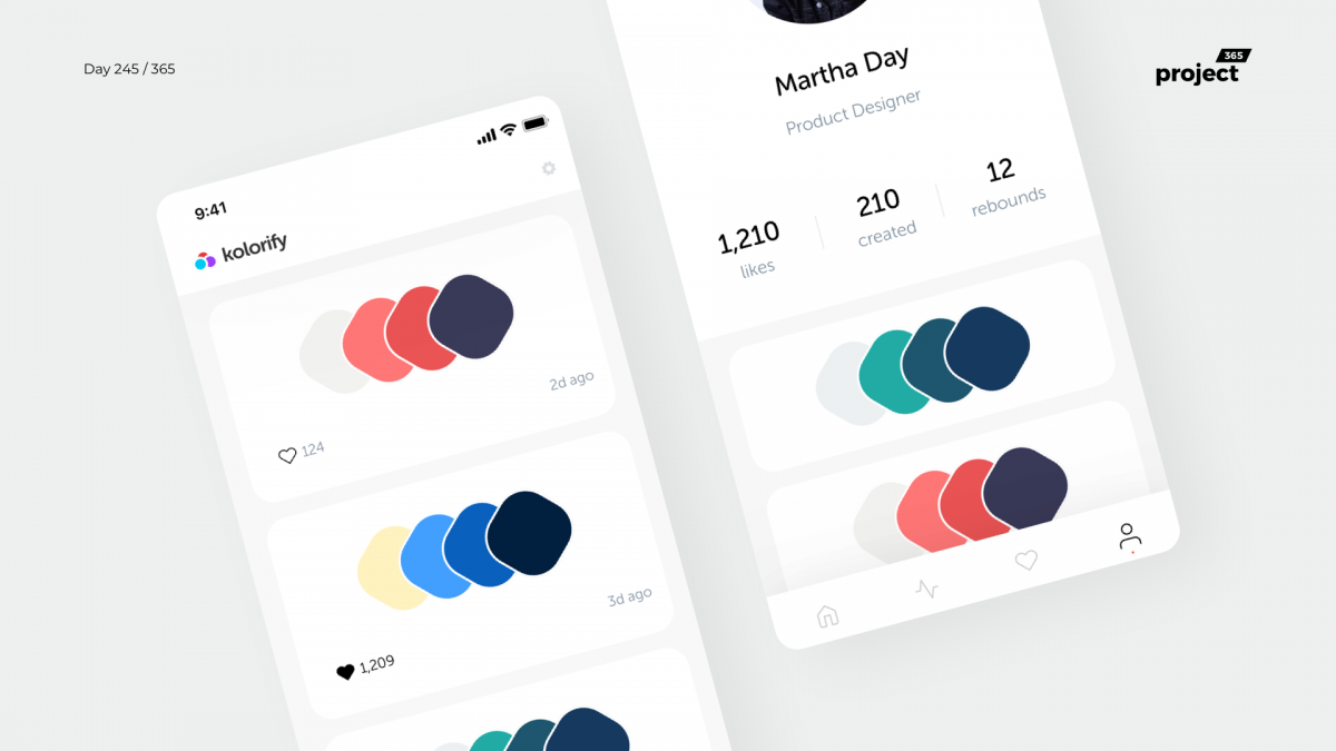 Day 245 – Kolorify – Color Palettes App Concept