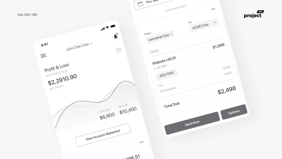 Day 248 – Invoice Generator App Concept – Wireframe
