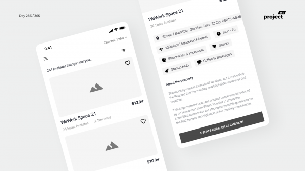 Day 255 – Coworking Space Booking App Wireframe