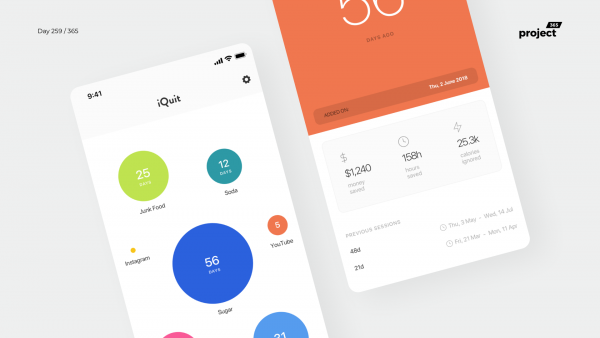 Day 259 – iQuit – Goals Motivator App Concept