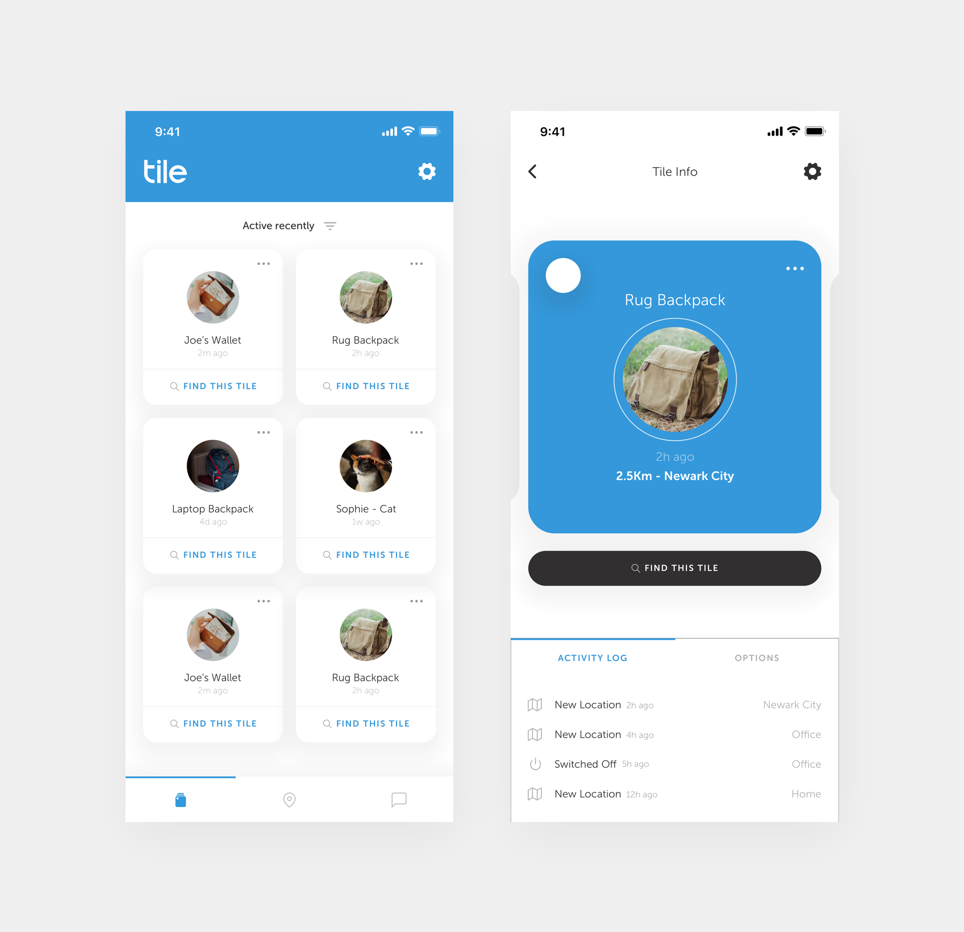 Mobile App Home Screen Redesign: Tile Mobile App Redesign Concept