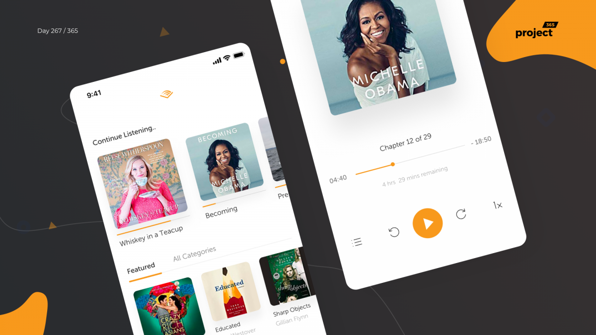 Day 268 – Audible.com App Redesign Concept