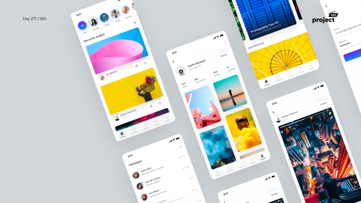 Day 271 – Social App UI Kit – Sketch Freebie