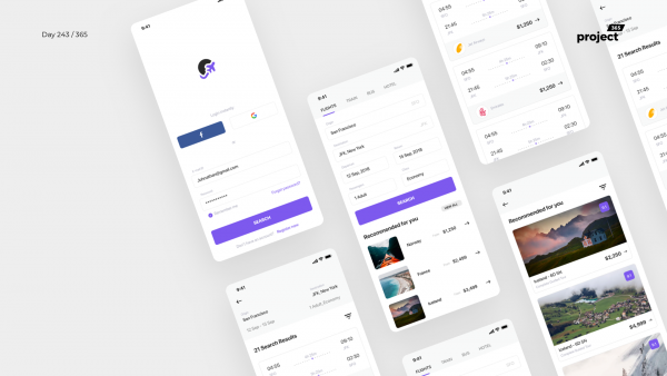 Day 243 – Flight Booking App – Sketch Freebie
