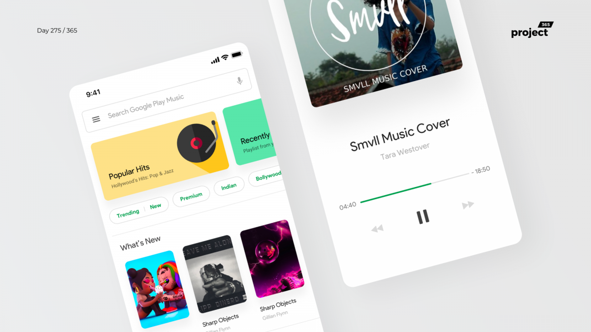 Day 275 – Google Play Music App Redesign Concept