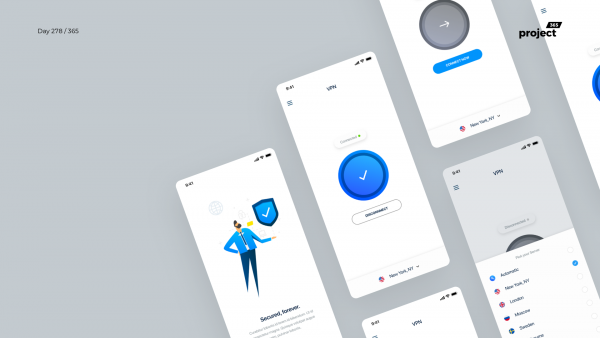 Day 278 – VPN Mobile App UI Kit – Sketch Freebie