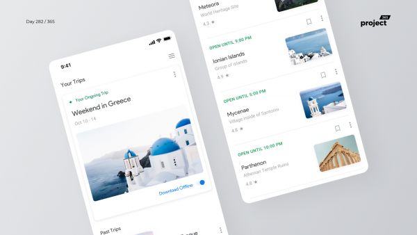 Day 282 – Google Trips Mobile App Redesign Concept