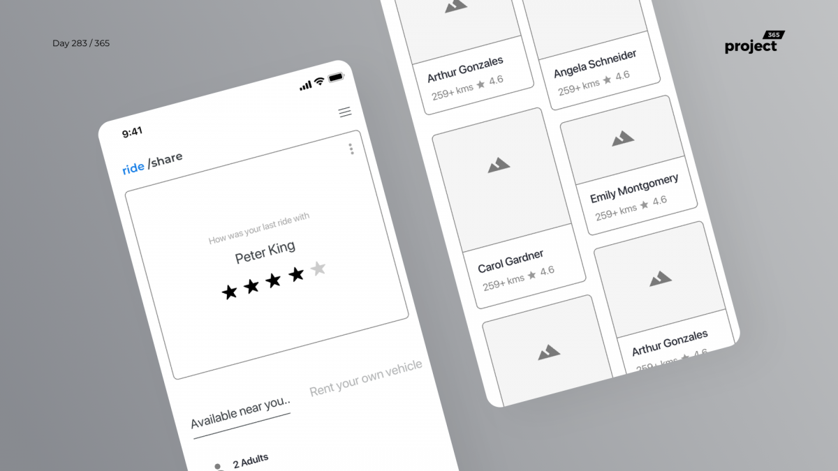Day 283 – CarPooling App Wireframe