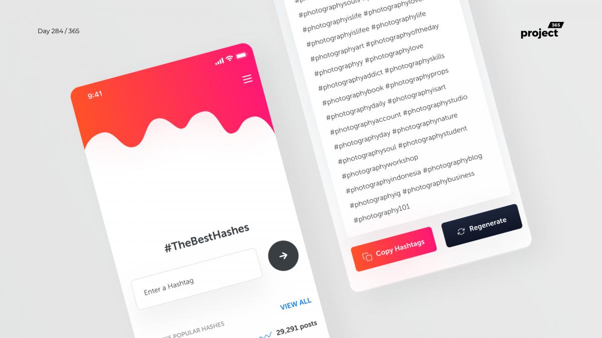 Day 284 – HashTag Generator iOS App Concept