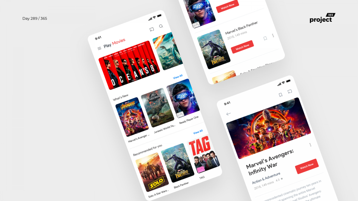 Day 289 – Google Play Movies App Redesign