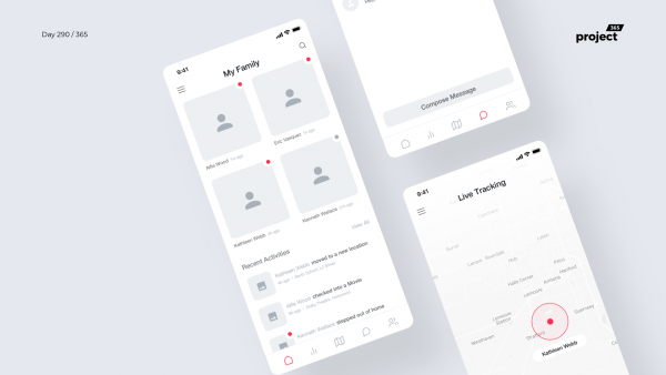Day 290 – Family Safety App Wireframe