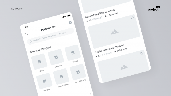 Day 297 – Hospital Finder App Wireframe