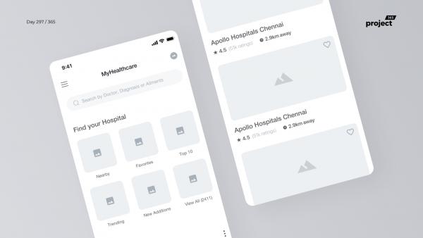 Day 297 – Hospital Finder App Wireframe