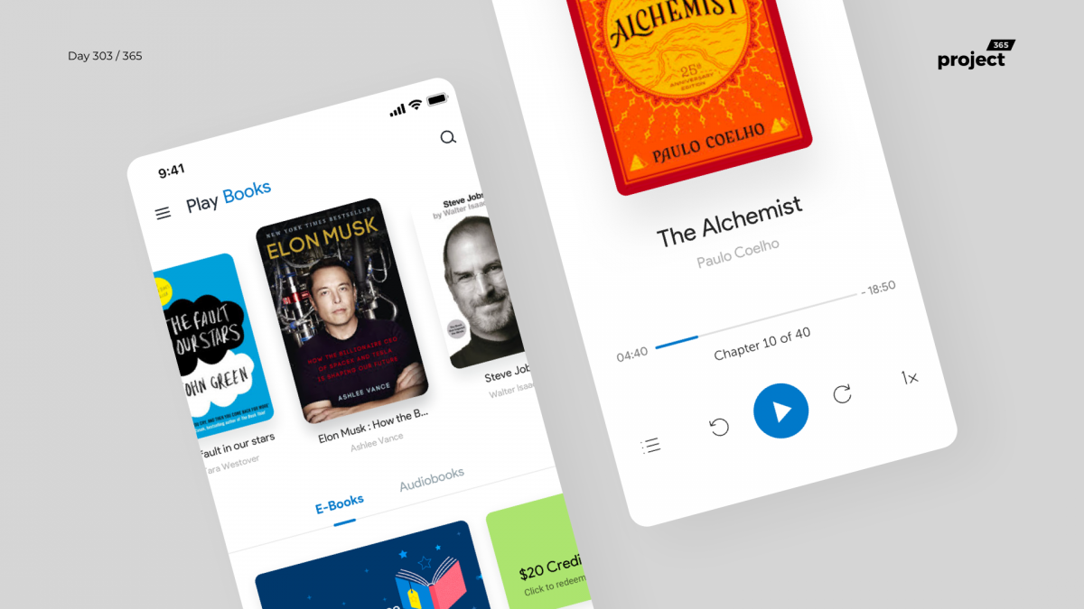 Day 303 – Google Play Books App Redesign